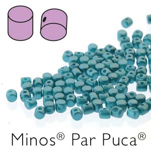 MINOS 2.5x3MM PASTEL EMERALD - PAR PUCA BEADS